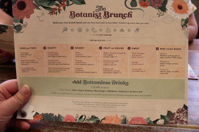Bottomless Brunch Menu at The Botanist
